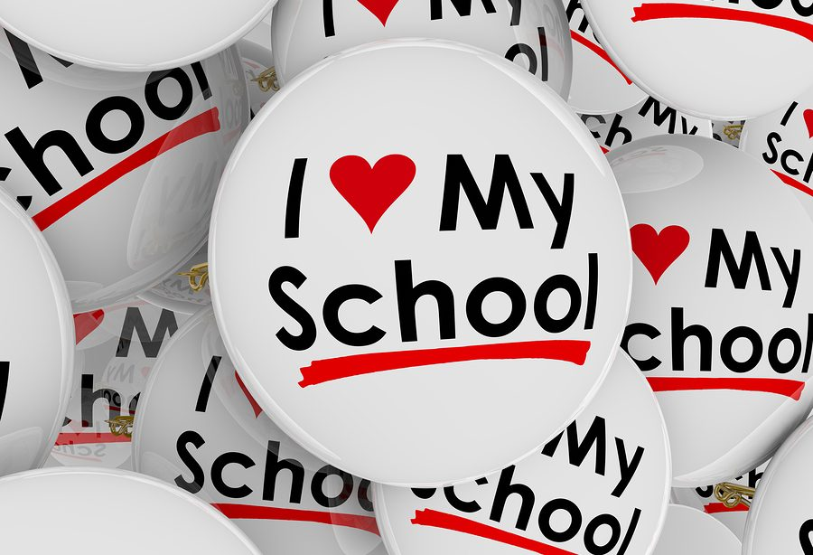 I Love My School with heart symbol on buttons or pins to illustr