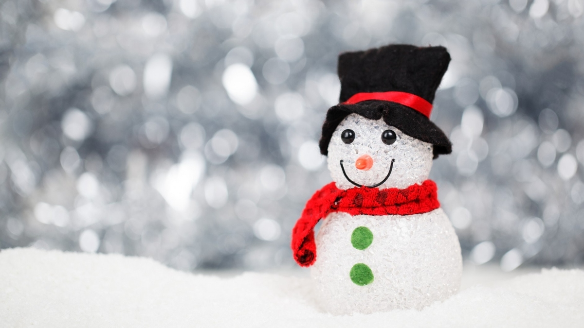 small snowman in the snow