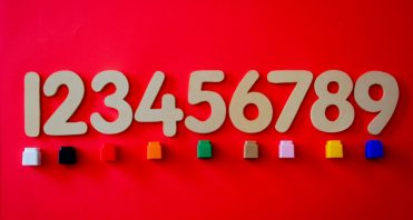 numbers on red background